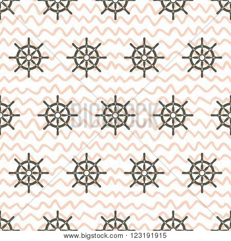 Ship helm vector seamless pattern. Helms and waved horizontal lines seamless background. EPS8 vector illustration.