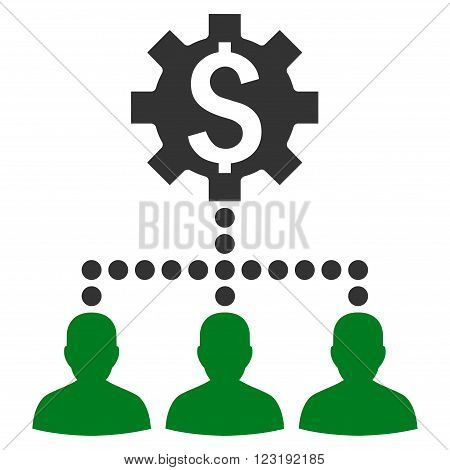 Industrial Bank Clients vector icon. Style is bicolor flat symbol, green and gray colors, white background.