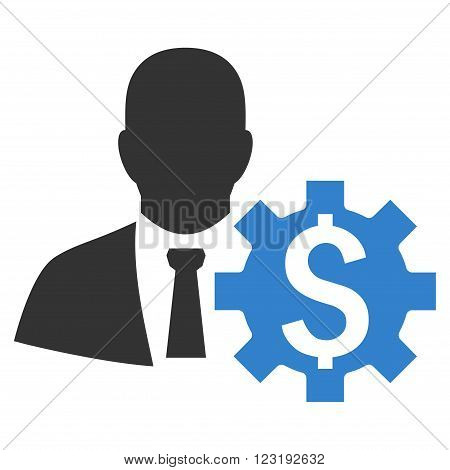 Banker Options vector icon. Style is flat symbol, cobalt color, white background.