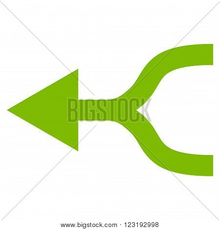 Combine Arrow Left vector icon. Style is flat icon symbol, eco green color, white background.