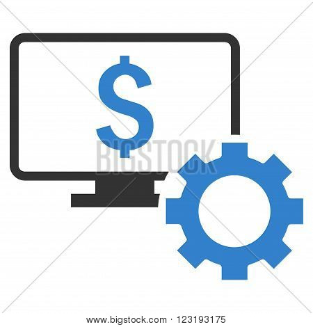 Financial Monitoring Options vector icon. Style is flat symbol, cobalt color, white background.