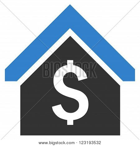 Loan Mortgage vector icon. Style is flat symbol, cobalt color, white background.