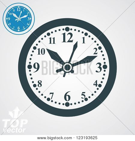 Elegant Vector Wall Clock With Stylized Clockwise, Additional Version Included. Business Time Idea E