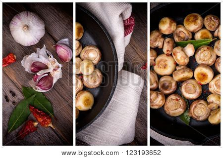 Button mushrooms with garlic, fried in a cast iron skillet, resting on a tea towel over an old wood background. Triptych collage.