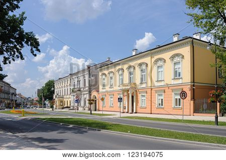 RADOM, POLAND - JULY 4, 2009: The Masonic Lodge which houses the District Attorney's office and the old post office further back