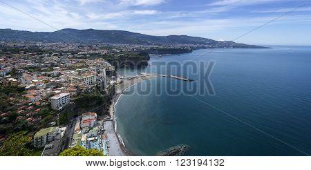 SANT-AGNELLO ITALY - April 23. 2015.Panorama of Sorrento Sant'agnello gulf view. The province of Campania. Italy.
