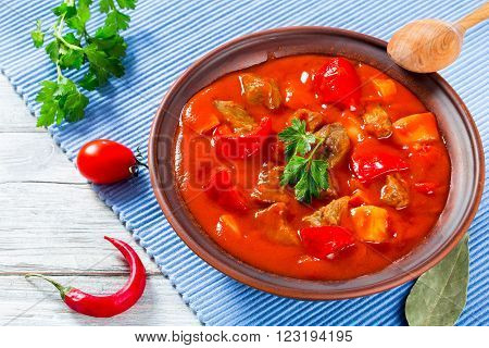 Beef stew with vegetables goulash traditional hungarian meal top view