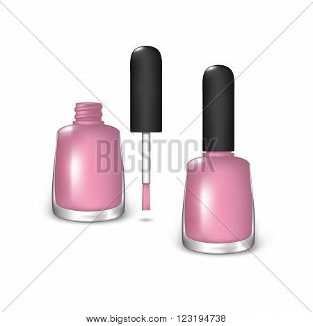 Light Pink Nail Polish. Open Bottle and the Closed Bottle on a White Background. Mesh Gradient and Transparency was Used. EPS-10.