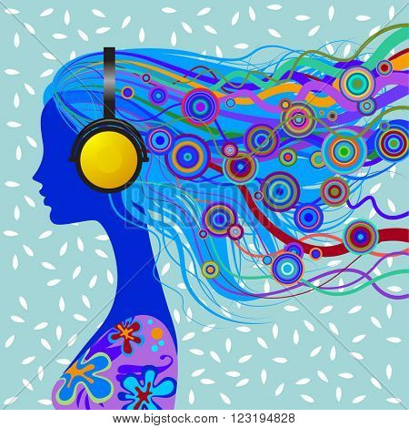 Silhouette of girl's head with blue loose hair listen to music with head-phones on decorative background
