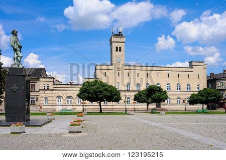 State Archive former City Hall and Deeds of Legions Act monument at Rynek in Radom Poland