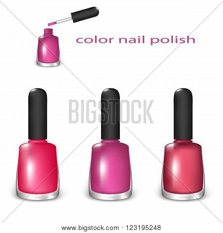 Set of Color Nail Polish. Pink, Claret, and Red Colors on a White Background. Mesh Gradient and Transparency was Used. EPS-10.