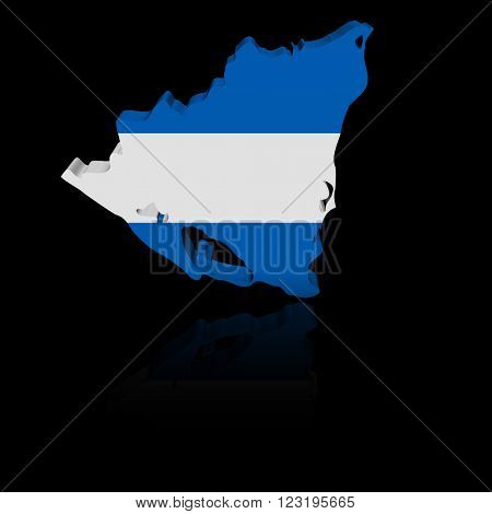 Nicaragua map flag with reflection illustration