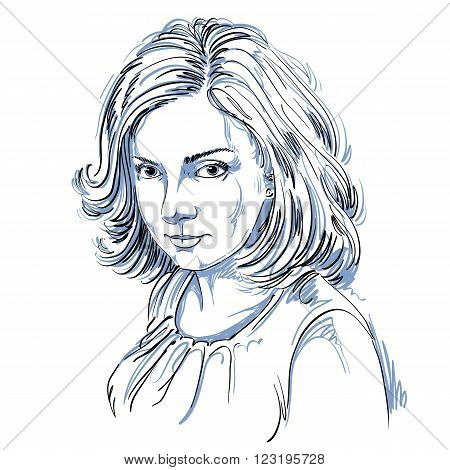 Vector art drawing portrait of gorgeous romantic girl isolated on white. Facial expressions people positive romantic emotions.