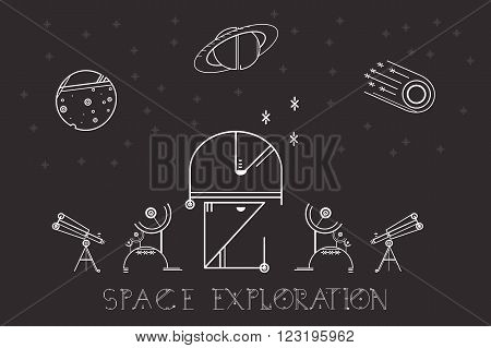 Vector illustration modern space exploration. Space icons modern line style vector. Cosmos icons isolated black background. Space series. Space exploration and adventure symbol.