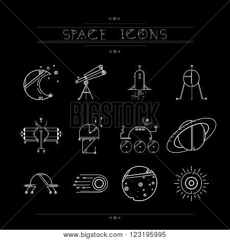 Space icons modern line style vector. Cosmos icons isolated black background. Space series. Space exploration and adventure symbol.