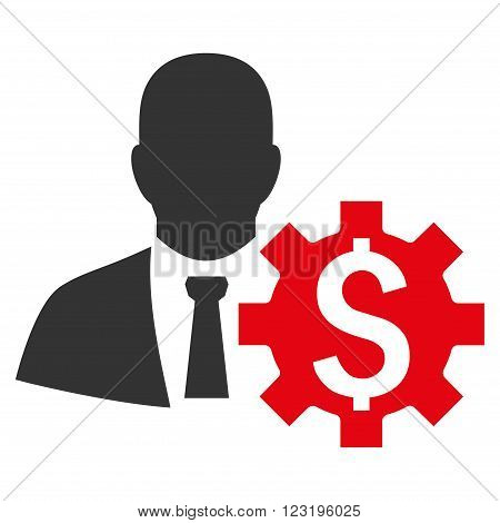 Banker Options vector icon. Style is flat symbol, red color, white background.