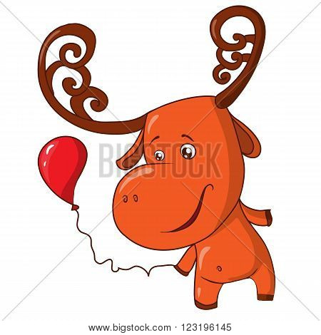 Vector illustration cartoon character funny moose with balls