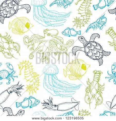 Seamless pattern with hand drawn sea animals. Vector illustration for your design