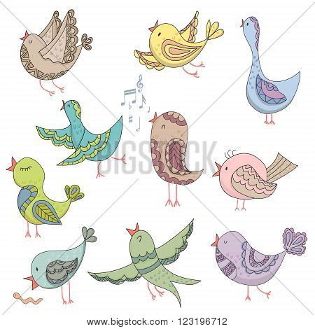 Cute Lovely Bird Singing Summer Endless Vector Illustration.Endless background. Beautiful pattern in. Vector backdrop. Summer template. Use for wallpaper, pattern fills, web page background.