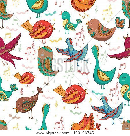 Cute Lovely Bird Singing Summer Seamless Endless Vector Illustration.Endless background. Beautiful seamless pattern in. Vector backdrop. Summer template. Use for wallpaper, pattern fills, web page background.