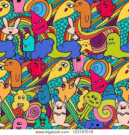 Funny monsters graffiti. Hand drawn sketch art. Doodle vector illustration. can be used for backgrounds, t-shirts.  seamle pattern