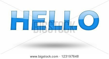 Text HELLO with blue letters and shadow. Illustration, isolated on white