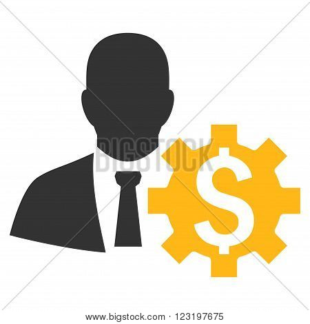 Banker Options vector icon. Style is flat symbol, yellow color, white background.