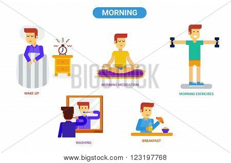 Set of vector illustrations about morning routine. Wake up morning meditation and yoga morning exercises washing and breakfast. Flat style illustartion for infographic.