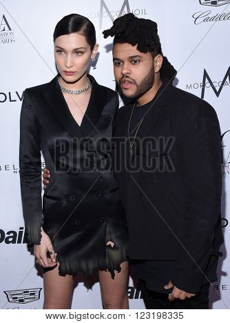 LOS ANGELES - MAR 20:  The Weeknd & Bella Hadid arrives to the 2nd Annual Fashion Los Angeles Awards  on March 20, 2016 in Hollywood, CA.