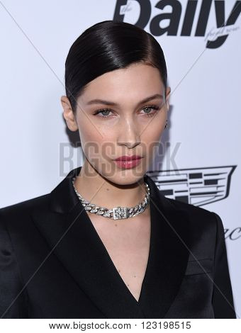 LOS ANGELES - MAR 20:  Bella Hadid arrives to the 2nd Annual Fashion Los Angeles Awards  on March 20, 2016 in Hollywood, CA.