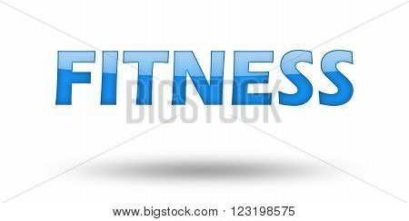 Text FITNESS with blue letters and shadow. Illustration, isolated on white