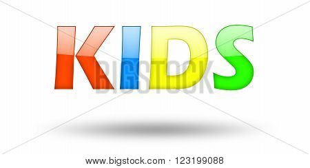 Text KIDS with colorful letters and shadow. Illustration, isolated on white