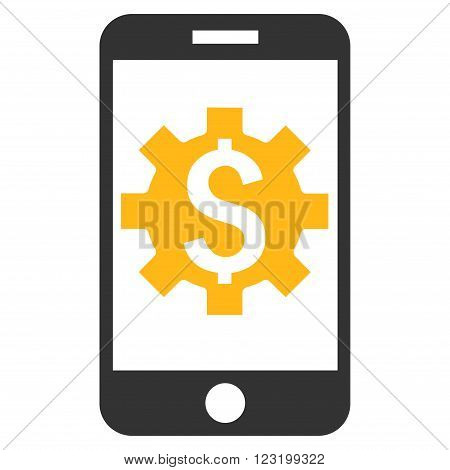 Mobile Bank Setup vector icon. Style is flat symbol, yellow color, white background.