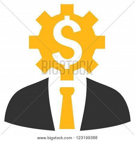 Office Worker vector icon. Style is flat symbol, yellow color, white background.