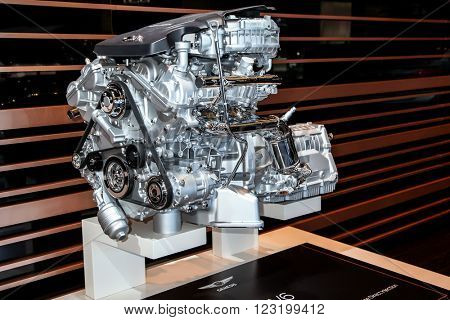 NEW YORK - March 23: A Genesis 3.8L V6 engine exhibit at the 2016 New York International Auto Show during Press day,  public show is running from March 25th through April 3, 2016 in New York, NY.