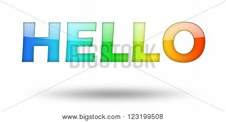 Text HELLO with colorful letters and shadow. Illustration, isolated on white