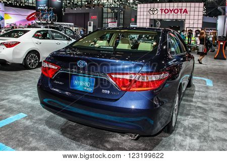 NEW YORK - March 23: A Toyota Camry XLE exhibit at the 2016 New York International Auto Show during Press day,  public show is running from March 25th through April 3, 2016 in New York, NY.