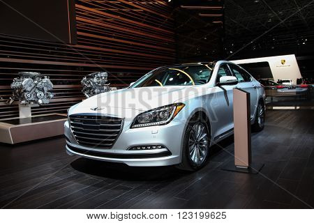 NEW YORK - March 23: A Genesis G80 exhibit at the 2016 New York International Auto Show during Press day,  public show is running from March 25th through April 3, 2016 in New York, NY.