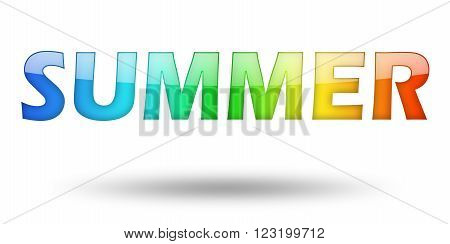 Text SUMMER with colorful letters and shadow. Illustration, isolated on white