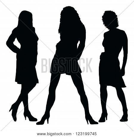 Illustration of silhouettes three different beautiful girls posing stylishly.