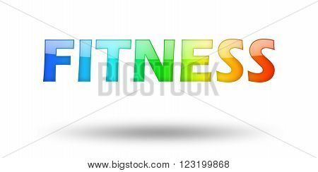 Text FITNESS with colorful letters and shadow. Illustration, isolated on white