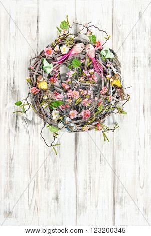 Easter wreath. Vintage style holidays decoraion. Nest