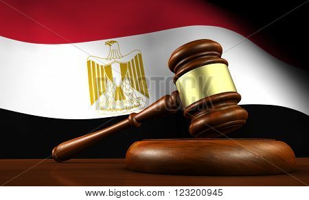 Egypt law legal system and justice concept with a 3d Rendering of a gavel on a wooden desktop and the Egyptian flag on background.