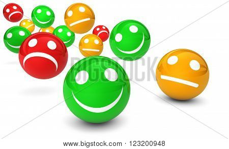 Business quality service customer feedback rating and survey with emoticon symbol and icon 3D illustration on white background.