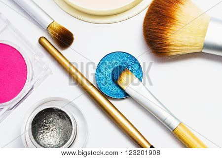Set of professional cosmetics for make-up isolated on white background . Cosmetic products for makeup.