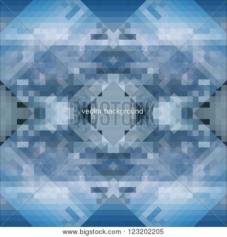 Blue vector abstract white cube. background illustration of symmetric