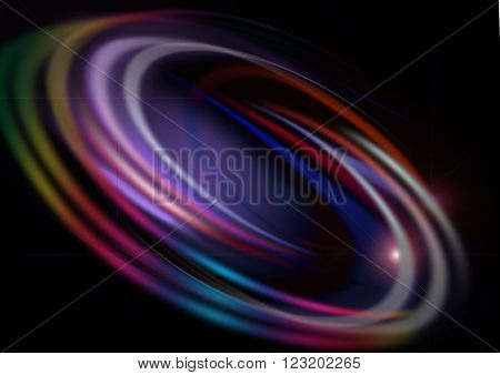 Oval iridescent and transparent white arc with a glare on a black background