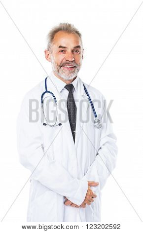experienced therapist with stethoscope on white background