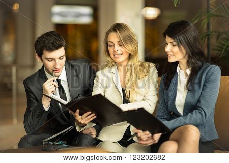 business team working with documents at office