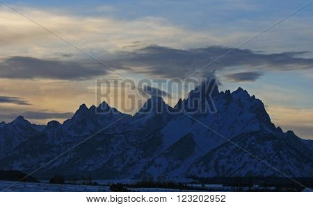 Grand Tetons at twilight sunset in Grand Tetons National Park in Wyoming USA